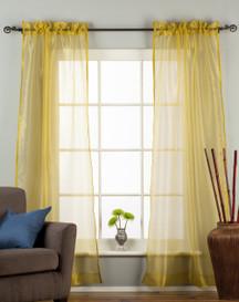 Olive Gold - Rod Pocket Sheer Tissue Curtain Panel Drape - Piece