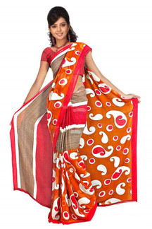 Bhagyasri Georgette Printed Casual Saree Sari Bellydance fabric