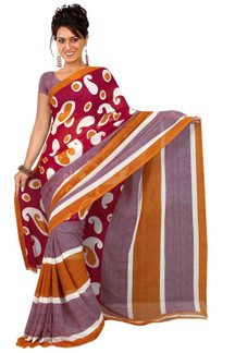 Bhagyashri Georgette Printed Casual Saree Sari Bellydance fabric