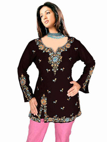 Black long sleeves Kurti/Tunic with designer embroidery work