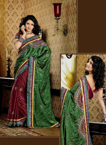 Chhavi Green Faux Crepe Luxury Party Wear Sari saree