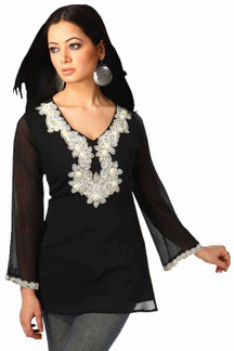 Black long sleeves Kurti/Tunic with designer bead work