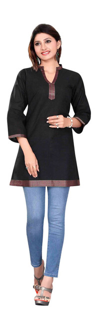 Black 3/4 sleeve Indian Cotton Kurti/Tunic with Golden neckline