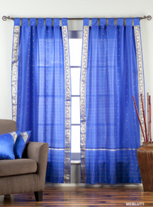 Enchanting Blue  Tab Top  Sheer Sari Curtain / Drape / Panel  - Pair