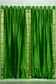 Forest Green  Tab Top  Sheer Sari Curtain / Drape / Panel  - Pair