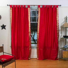 Fire Brick  Tab Top  Sheer Sari Curtain / Drape / Panel  - Pair