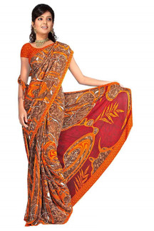 Ekantika Georgette Printed Casual Saree Sari Bellydance fabric