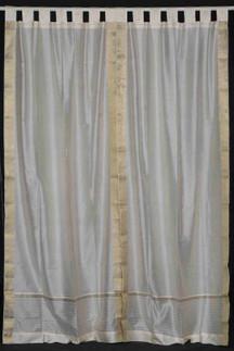 Cream  Tab Top  Sheer Sari Curtain / Drape / Panel  - Pair