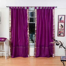 Violet Red  Tab Top  Sheer Sari Curtain / Drape / Panel  - Pair