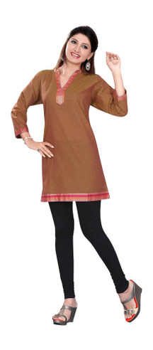 Brown 3/4 sleeve Indian Cotton Kurti/Tunic with Golden neckline
