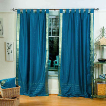 Turquoise  Tab Top  Sheer Sari Curtain / Drape / Panel  - Piece