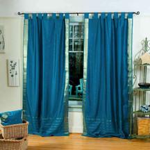 Turquoise  Tab Top  Sheer Sari Curtain / Drape / Panel  - Piece