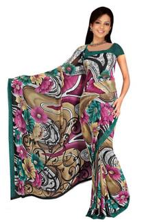 Deepa Georgette Printed Casual Saree Sari Bellydance fabric