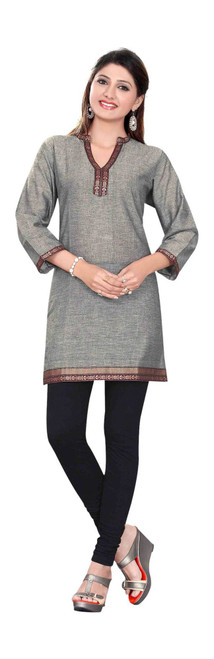 Gray 3/4 sleeve Indian Cotton Kurti/Tunic with Golden neckline