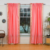 Pink Rod Pocket  Sheer Sari Curtain / Drape / Panel  - Pair
