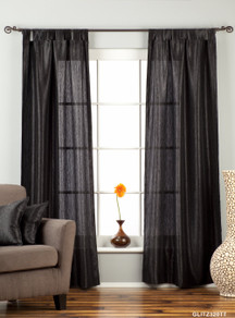 "Black Tab Top Textured Curtain / Drape / Panel - 84"" - Piece"
