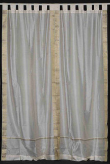 Cream  Tab Top  Sheer Sari Curtain / Drape / Panel   - 43W x 84L - Piece