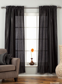 "Black Rod Pocket Textured Curtain / Drape / Panel - 84"" - Piece"