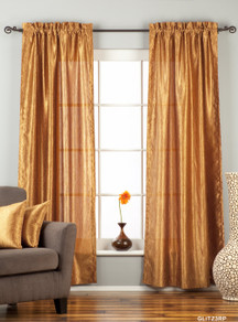 "Gingery Gold Rod Pocket Textured Curtain / Drape / Panel - 84"" - Piece"