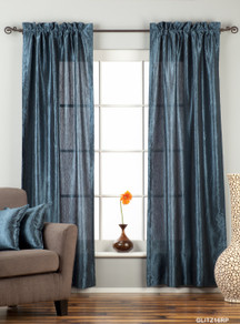 "Navy Blue Rod Pocket Textured Curtain / Drape / Panel - 84"" - Piece"