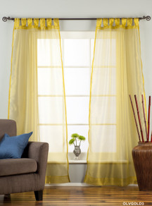 "Olive Gold Tab Top Sheer Tissue  Curtain / Drape / Panel  - 84"" - Piece"