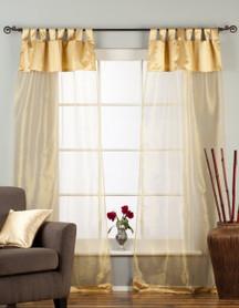 "Golden Tab Top Sheer Tissue Curtain / Drape / Panel - 84"" - Piece"