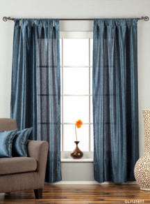 "Navy Blue Tab Top Textured Curtain / Drape / Panel - 84"" - Piece"