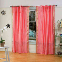 Pink  Tie Top  Sheer Sari Curtain / Drape / Panel  - Pair