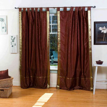 Brown  Tab Top  Sheer Sari Curtain / Drape / Panel  - Piece