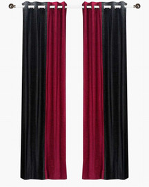 Delancy  Black and Burgundy ring top Velvet Curtain Panel - Piece