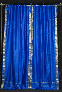Island Blue  Tie Top  Sheer Sari Curtain / Drape / Panel  - Pair