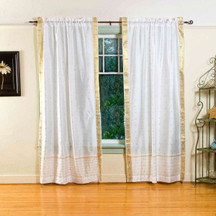 White  Rod Pocket  Sheer Sari Curtain / Drape / Panel  - Pair