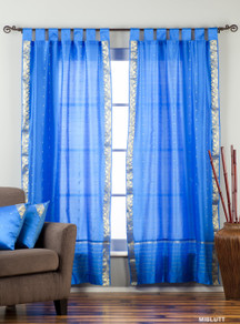Blue  Tab Top  Sheer Sari Curtain / Drape / Panel  - Piece