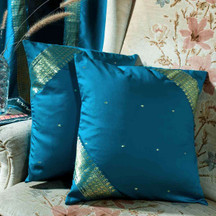 Turquoise- handcrafted Cushion Cover, Throw Pillow case Euro Sham-6 Sizes