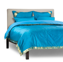 Turquoise - 5 Piece Handmade Sari Duvet Cover Set with Pillow Covers / Euro Sham