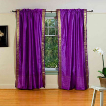 Purple Rod Pocket  Sheer Sari Curtain / Drape / Panel  - Pair