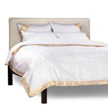 White Gold-5 Piece Handmade Sari Duvet Cover Set with Pillow Covers / Euro Sham