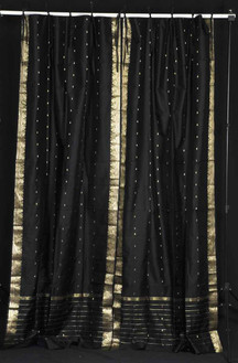 Black  Tie Top  Sheer Sari Curtain / Drape / Panel  - Piece