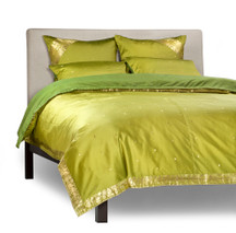 Olive Green-5 Piece Handmade Sari Duvet Cover Set with Pillow Covers / Euro Sham