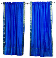Blue Rod Pocket  Sheer Sari Curtain / Drape / Panel  - Pair