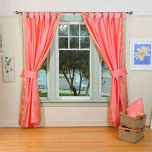 Indo Pink Tab Top Sari Sheer Curtain (43 in. x 84 in.) with matching tieback
