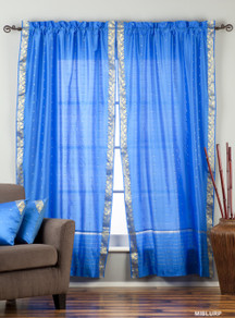 Blue Rod Pocket  Sheer Sari Curtain / Drape / Panel  - Piece