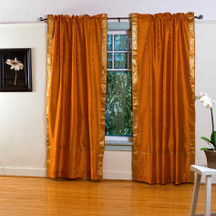 Mustard Yellow Rod Pocket  Sheer Sari Curtain / Drape / Panel  - Pair