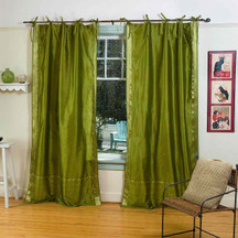 Olive Green  Tie Top  Sheer Sari Curtain / Drape / Panel  - Piece
