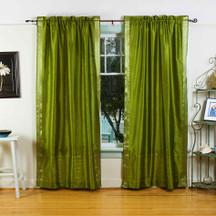 Olive Green Rod Pocket  Sheer Sari Curtain / Drape / Panel  - Pair