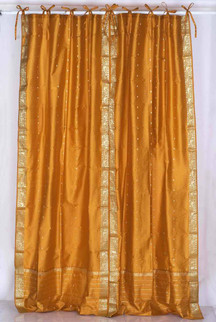 Mustard  Tie Top  Sheer Sari Curtain / Drape / Panel  - Piece