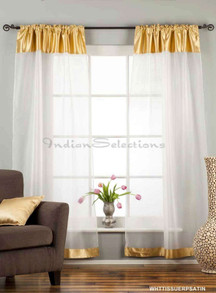 "White with Gold Satin Rod Pocket Sheer Tissue Curtain / Drape / Panel-84""-Piece"