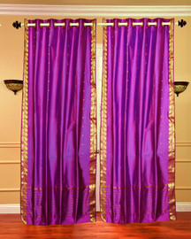 Violet Red Ring Top  Sheer Sari Curtain / Drape / Panel  - Piece