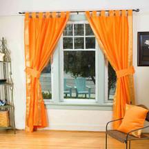 Pumpkin Orange Tab Top Sari Sheer Curtain (43 in.X84 in.) w/ matching tieback