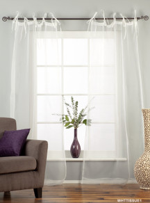 "White Tie Top  Sheer Tissue  Curtain / Drape / Panel  - 84"" - Piece"